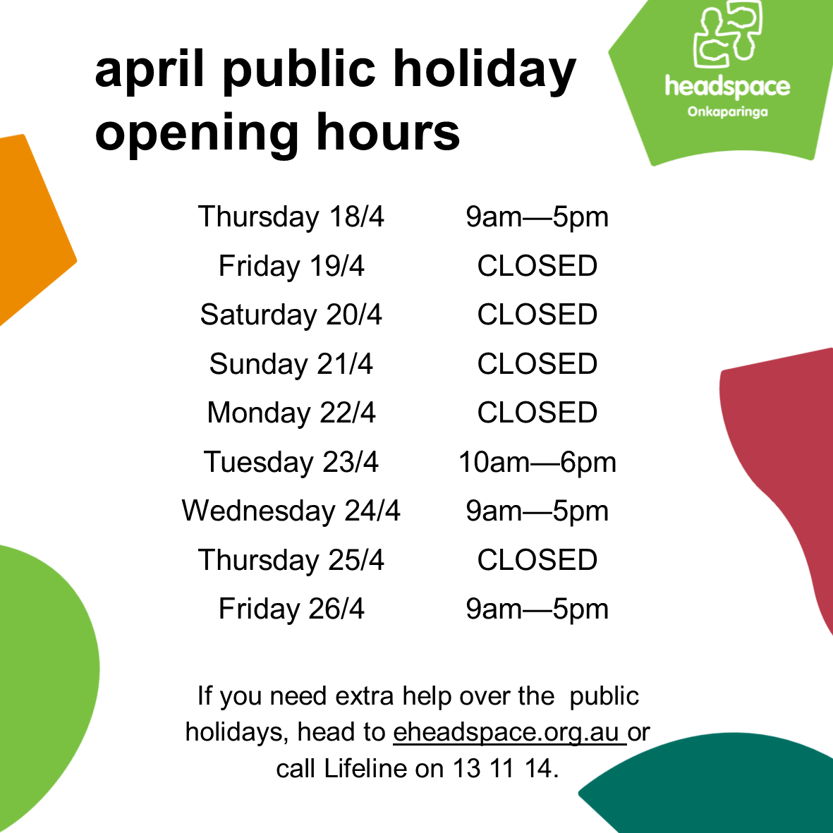 april public holiday hours 2