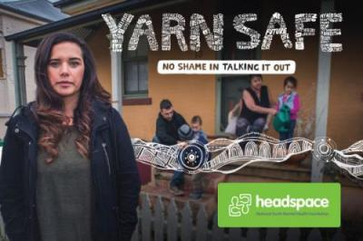 "Yarn Safe campaign image, ""No shame in talking it out"""